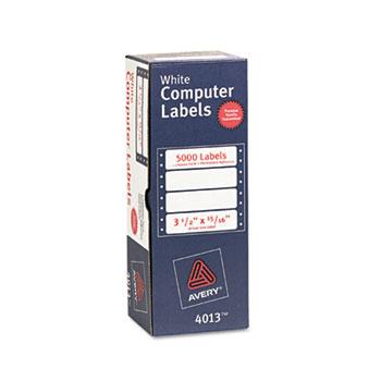 "Continuous Form Computer Labels, Permanent Adhesive, 3 1/2"" x 15/16"", 5000/BX"