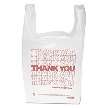 "Inteplast Group Thank You Handled T-Shirt Bags, 11 1/2"" x 21"", Polyethylene, White, 900/CT"