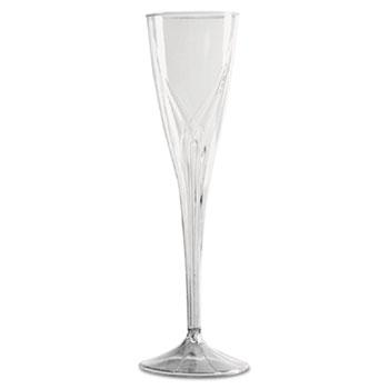 WNA Classicware One-Piece Champagne Flutes, 5 oz., Clear, Plastic, 100/CT