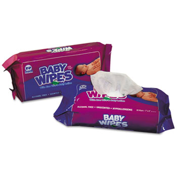 Baby Wipes Refill Pack, Scented, White, 80/PK, 12 PK/CT