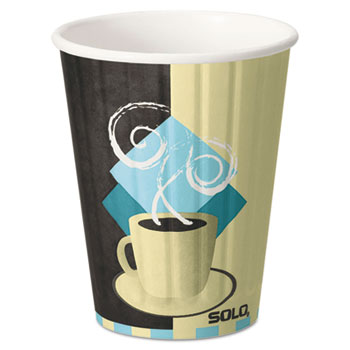 SOLO® Cup Company Duo Shield Hot Insulated 12oz Paper Cups, Beige, 40/Pack