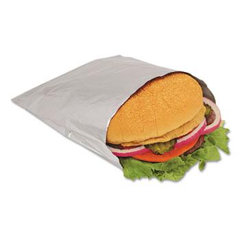 Bagcraft Foil Sandwich Bags, 6 x 3/4 x 6 1/2, Silver, 1000/Carton