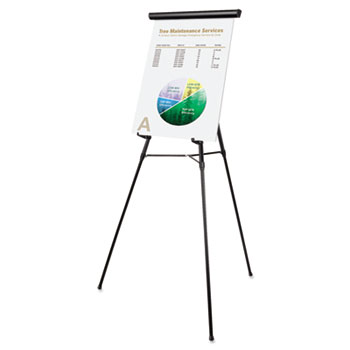 """MasterVision® Telescoping Tripod Display Easel, Adjusts 38"""" to 69"""" High, Metal, Black"""