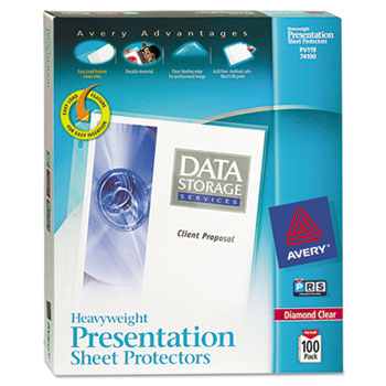 Diamond Clear Heavyweight Sheet Protectors, Acid-Free, 100/BX