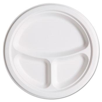 """Eco-Products® Renewable & Compostbl Sugarcane Plates Club Pack - 10"""" 3-Cmpt, 50/PK, 10 PK/CT"""
