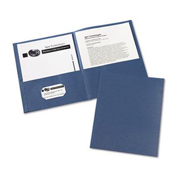 Two-Pocket Folders, Embossed Paper, Dark Blue, 25/BX