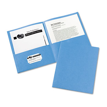 Avery® Two-Pocket Folders, Embossed Paper, Light Blue, 25/BX