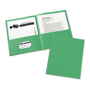 Avery® Two-Pocket Folders, Embossed Paper, Green, 25/BX