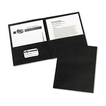 Avery® Two-Pocket Folders, Embossed Paper, Black, 25/BX