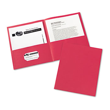 Two-Pocket Folders, Embossed Paper, Red, 25/BX