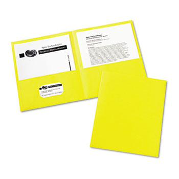 Avery® Two-Pocket Folders, Embossed Paper, Yellow, 25/BX