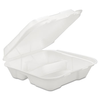 Lagasse Foam Hinged Carryout Container, 3-Comp, White, 9 1/4 X 9 1/4 X 3, 200/Carton