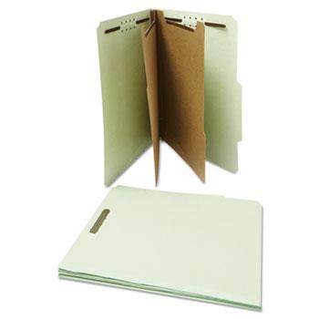 Universal Six--Section Pressboard Classification Folders, 2 Dividers, Letter Size, Gray-Green, 10/Box