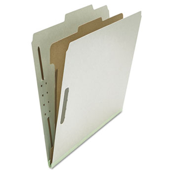 Universal® Four-Section Pressboard Classification Folders, 1 Divider, Letter Size, Gray, 10/Box