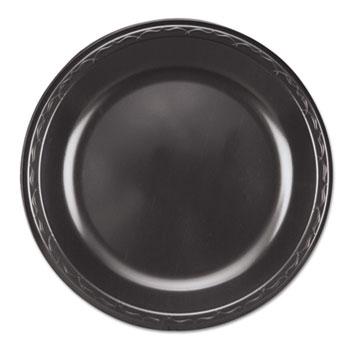 Genpak® Elite Laminated Foam Plates, 10 1/4 Inches, Black, Round