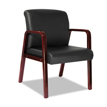 Alera® Reception Lounge WL Series Guest Chair, 24.21'' x 26.14'' x 32.67'', Black Seat/Black Back, Cherry Base