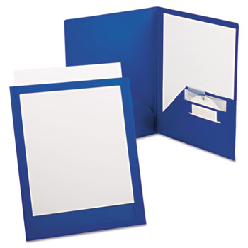Oxford™ ViewFolio Plus Polypropylene Portfolio, 50-Sheet Capacity, Blue/Clear