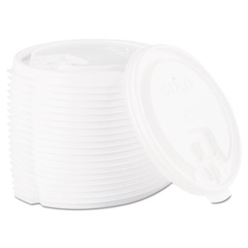Lift Back & Lock Tab Cup Lids for Foam Cups, 10/12/16/20 oz, White, 1000/Carton
