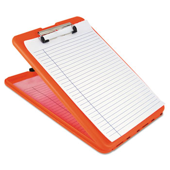 "Saunders SlimMate Storage Clipboard, 1/2"" Capacity, Holds 8 1/2w x 12h, Safety Orange"