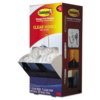 Command™ Clear Hooks & Strips, Plastic, Medium, 50 Hooks w/50 Adhesive Strips per Carton