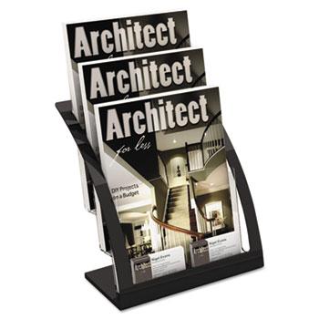 deflecto® Three-Tier Magazine Holder, 11-1/4w x 6-15/16d x 13-5/16h, Black