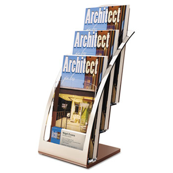 deflecto® Three-Tier Leaflet Holder, 6-3/4w x 6-15/16d x 13-5/16h, Silver