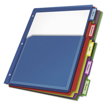 Cardinal® Poly Expanding Pocket Index Dividers, 5-Tab, Letter, Multicolor, per Pack