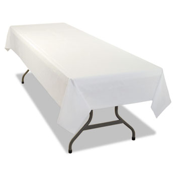 Tablemate® Rectangular Table Cover, Heavyweight Plastic, 54 x 108, White, 6/Pack, 4PK/CT