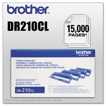 Brother DR210CL Drum Unit, Black/Cyan/Magenta/Yellow, 4-Color Set