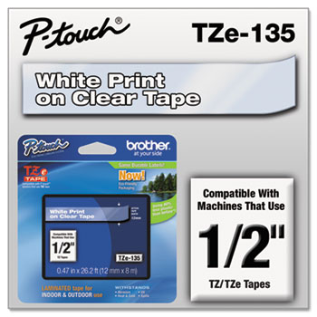 Brother P-Touch® TZe Standard Adhesive Laminated Labeling Tape, 1/2w, White on Clear