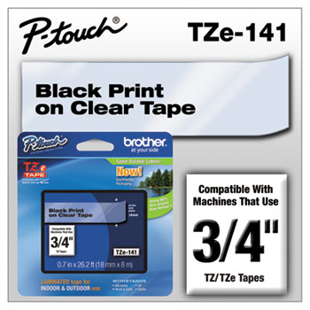 TZe Standard Adhesive Laminated Labeling Tape, 3/4w, Black on Clear