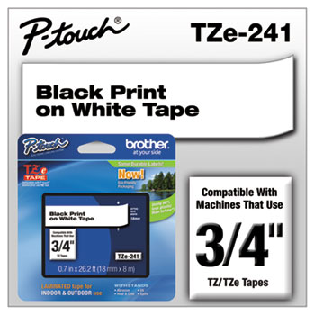 TZe Standard Adhesive Laminated Labeling Tape, 3/4w, Black on White