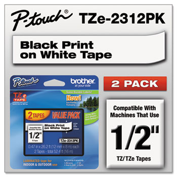 TZe Standard Adhesive Laminated Labeling Tapes, 1/2w, Black on White, 2/Pack