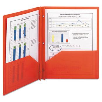Smead® Poly Two-Pocket Folder w/Fasteners, 11 x 8 1/2, Red, 25/Box
