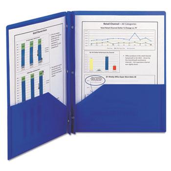Smead® Poly Two-Pocket Folder w/Fasteners, 11 x 8 1/2, Blue, 25/Box