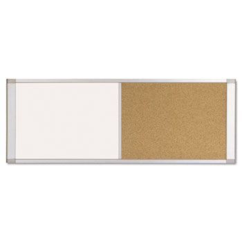 MasterVision® Combo Cubicle Workstation Dry Erase/Cork Board, 36x18, Silver Frame