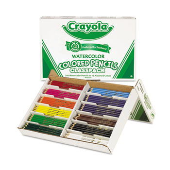 Crayola® Watercolor Pencils Classpack, 12 Colors, 240/BX