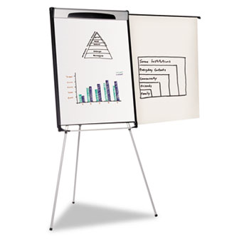"""Tripod Extension Bar Magnetic Dry-Erase Easel, 39"""" to 72"""" High, Black/Silver"""