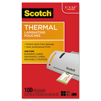 Scotch™ Business Card Size Thermal Laminating Pouches, 5 mil, 3 3/4 x 2 3/8, 100/Pack