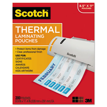 Letter Size Thermal Laminating Pouches, 3 mil, 11 2/5 x 8 9/10, 200 per Pack