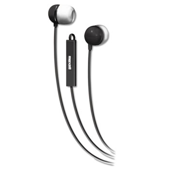 Maxell® In-Ear Buds with Built-in Microphone, Black/White