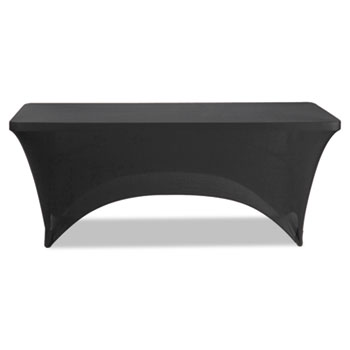 """Iceberg Stretch-Fabric Table Cover, Polyester/Spandex, 30"""" x 72"""", Black"""