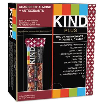 KIND Plus Nutrition Boost Bar, Cranberry/Almond, 1.4 oz, 12/Box