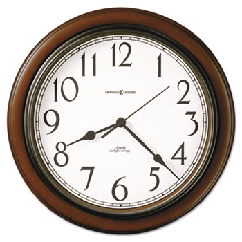 "Howard Miller® Talon Auto Daylight-Savings Wall Clock, 15 1/4"", Cherry"