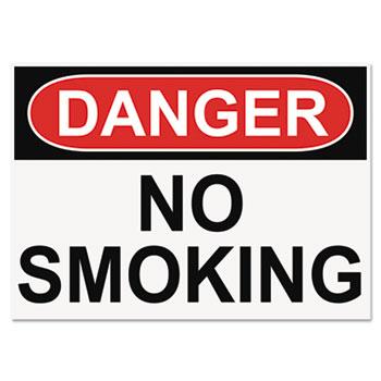 Headline® Sign OSHA Safety Signs, DANGER NO SMOKING, White/Red/Black, 10 x 14