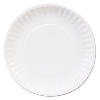 """Clay Coated Paper Plates, 6"""", White, 100/Pack"""