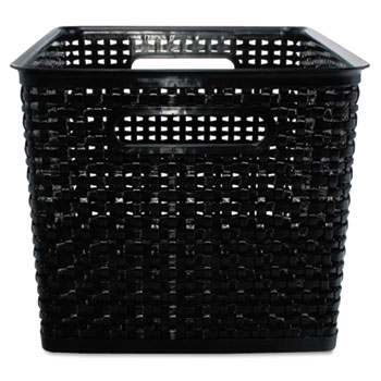 Advantus Weave Bins, 13 7/8 x 10 3/4 x 8 3/4, Plastic, Black, 2 Bins