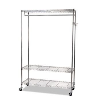 Alera® Wire Shelving Garment Rack, Coat Rack, Stand Alone Rack w/Casters, Silver