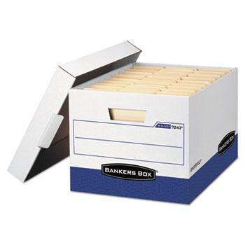 Bankers Box® R-KIVE Max Storage Box, Letter/Legal, Locking Lid, White/Blue, 4/Carton