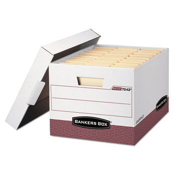 Bankers Box® R-KIVE Max Storage Box, Letter/Legal, Locking Lid, White/Red 12/Carton